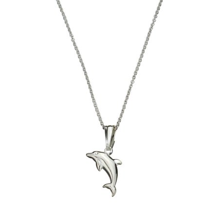 Sterling Silver Dolphin Pendant Cable Chain Necklace Italy, 14""