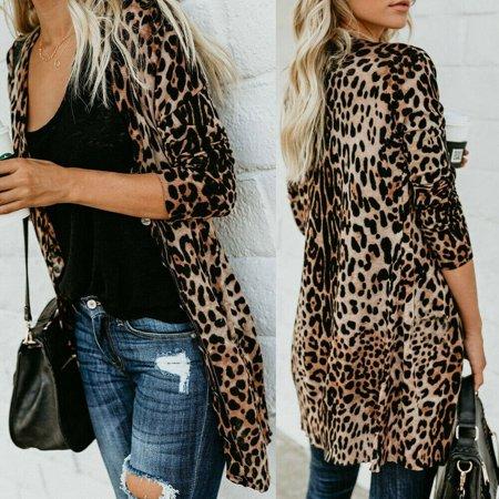 Hot Women's Autumn Leopard Print Sweater Cardigan Coat Jacket Long Sleeve V-neck