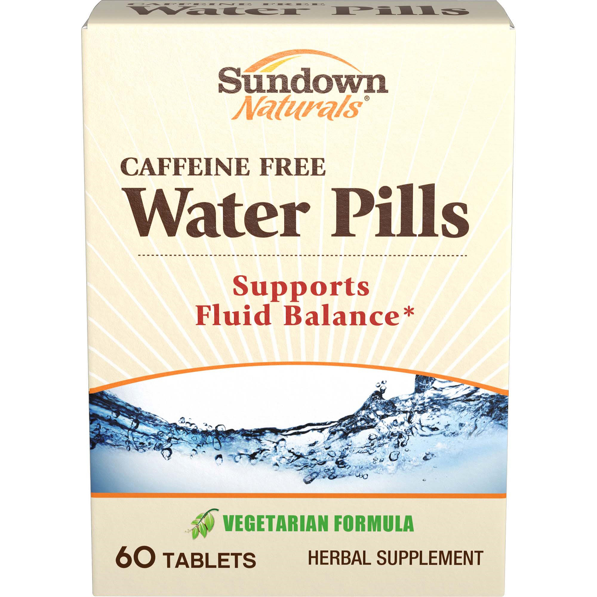 Sundown Naturals Natural Water Pills Herbal Supplement, 60 Count