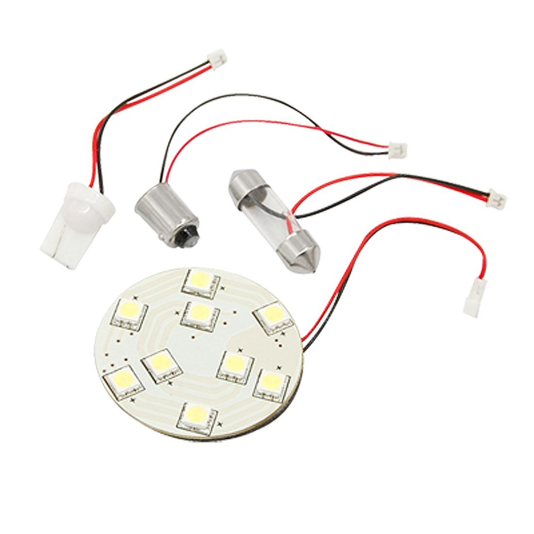 Car Roof 9 LED 5050 SMD Light Lamp Bulb White + Festoon Adapter