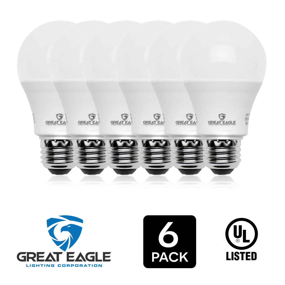Great Eagle LED Dimmable Light Bulb, 14W (100W Equivalent), 3000K Bright White, 1550 Lumens, A19 shape, E26 base, UL Listed, LED bulbs for general use. 6-count