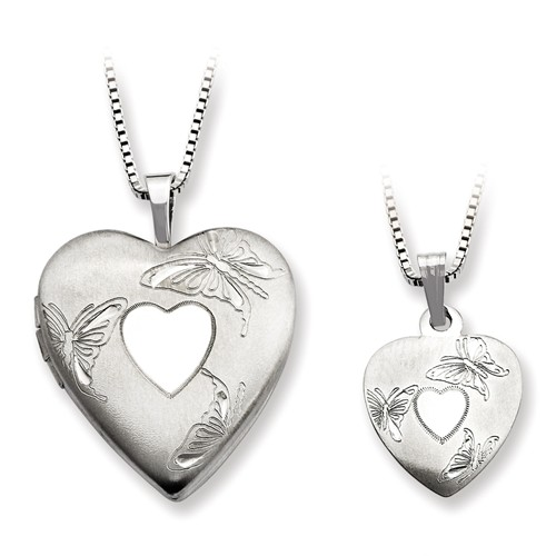 Sterling Silver Polished and Satin Butterfly Heart Locket & Pendant Set