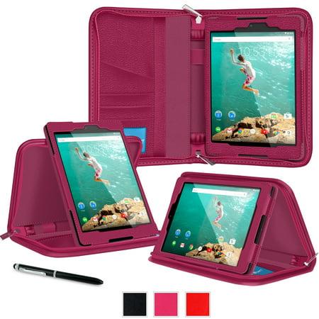 Google Nexus 9 Case   Roocase Executive Portfolio Nexus 9 8 9 Inch Genuine Leather Case Smart Cover With Auto Sleep Wake For Google Nexus 9 Tablet  8 9 Inch