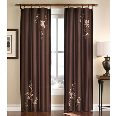 - Alesandra Floral Embroidered Faux Silk Window Curtain Panel, Brown, 44-Inch X 84-Inch, DRAPES Pinch Bordeaux 56Inch TREATMENT CURTAIN Swag Orange Beige Pewter.., By CHF & You Ship from US