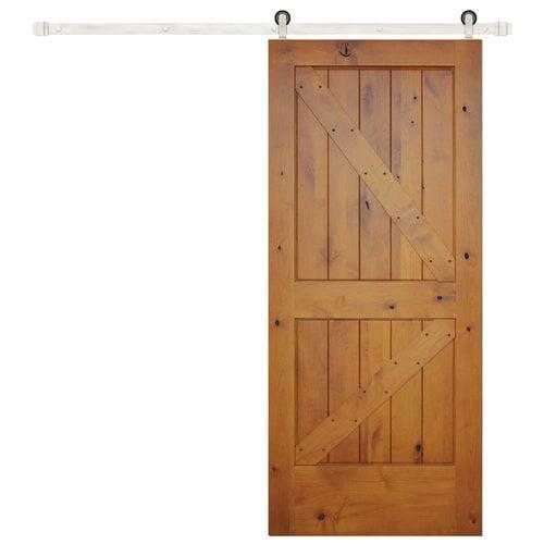 Creative Entryways Paneled Wood Finish Rustic Knotty Alder Barn Door with Installation Hardware Kit