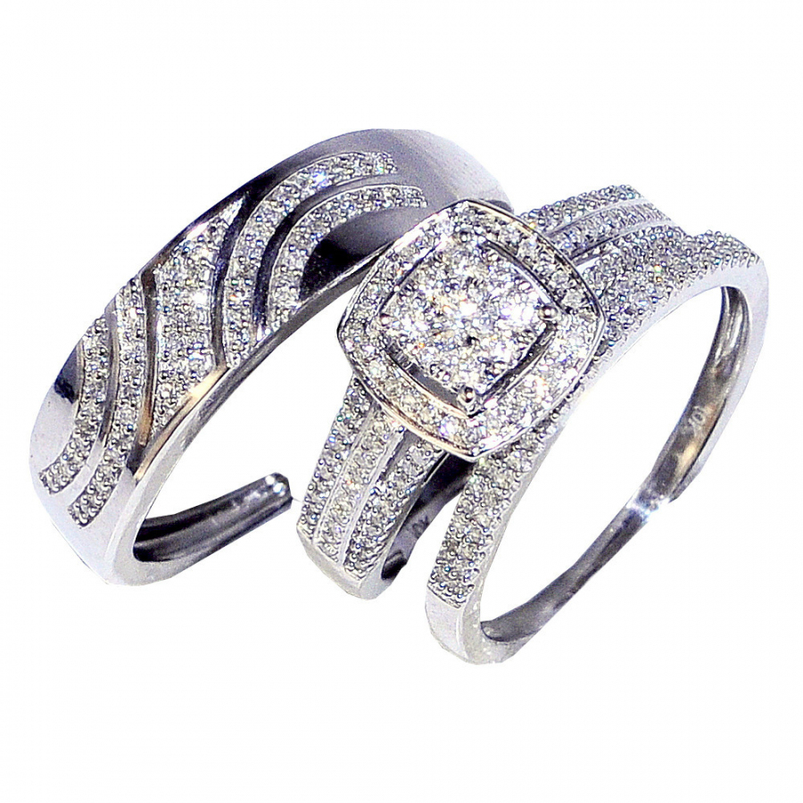 0.63cttw Diamond Trio Rings Set 10K White Gold His and her Rings