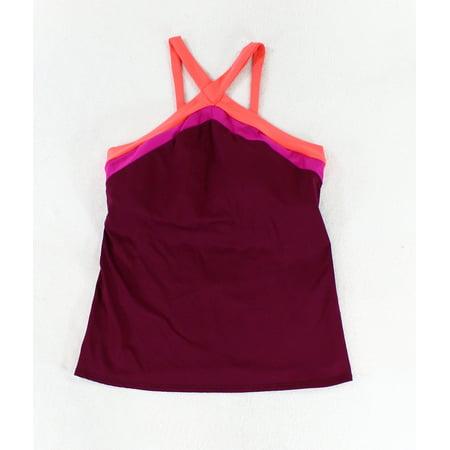 Becca Womens Swimsuit - Becca NEW Purple Pink Womens Small S Cross Front Tankini Top Swimwear