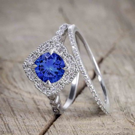 White Gold Semi Set - 2 Carat Round Cut Sapphire and Diamond Bridal Ring Set with Semi Eternity Wedding Band in White Gold