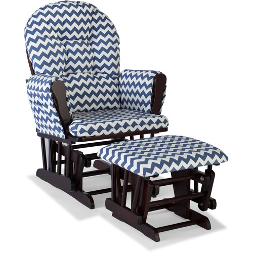 Storkcraft Chevron Hoop Glider and Ottoman Espresso with Navy Cushions