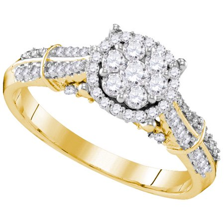 Size - 7 - Solid 10k White and Yellow Two Toned Gold Round White Diamond Engagement Ring OR Fashion Band Channel Set Flower Shaped Halo Ring (.73 cttw) 2 Tone Gold Diamond Ring