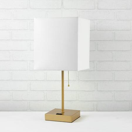 Better Homes And Gardens Fabric White Shade Metallic Base - Base Mirror Lamp