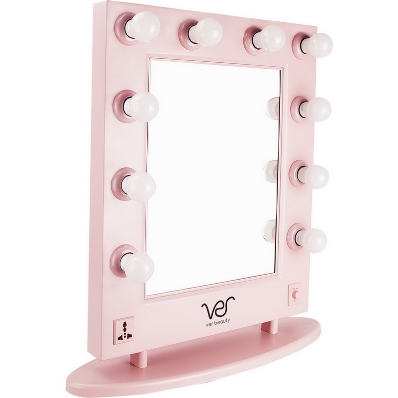 VER Beauty 10 Dimmable LED Light Bulbs Pink Metal Body and Base Hollywood Vanity Mirror - VMR4512