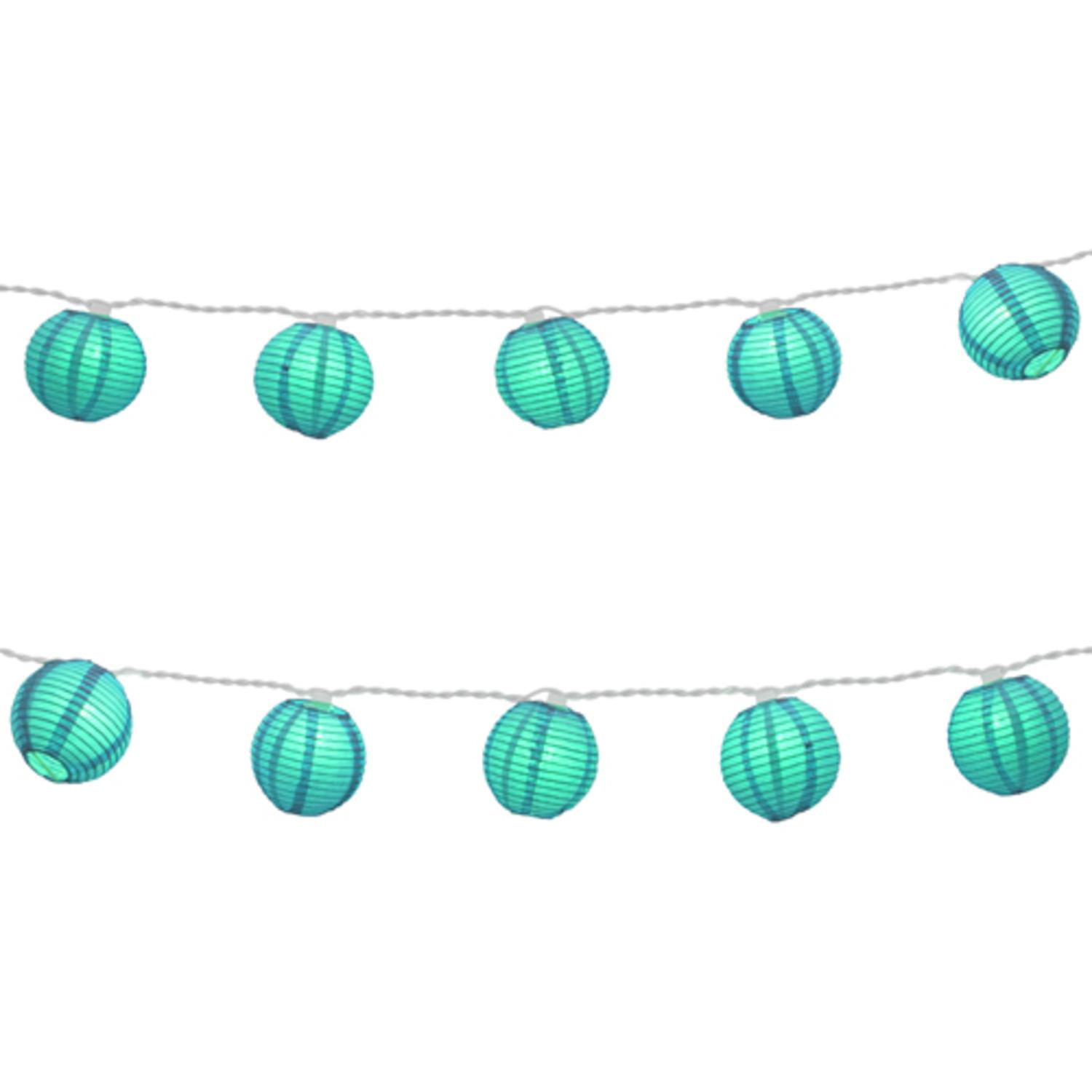 Set of 10 Turquoise Blue Lantern Christmas Lights - White Wire ...