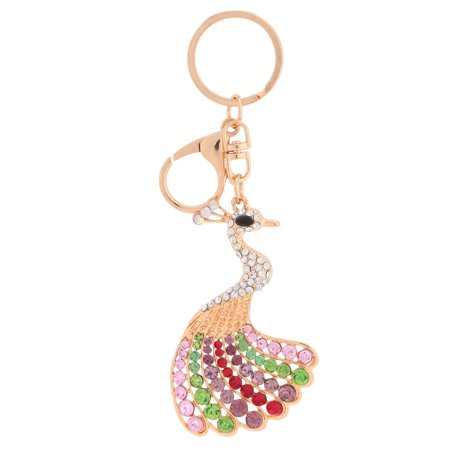 Beautiful Shining Crystal Rhinestone Peafowl Peacock Pendant Key Ring Fashion Women Jewelry Car Key Chain Purse Handbag Charm Accessory Gift