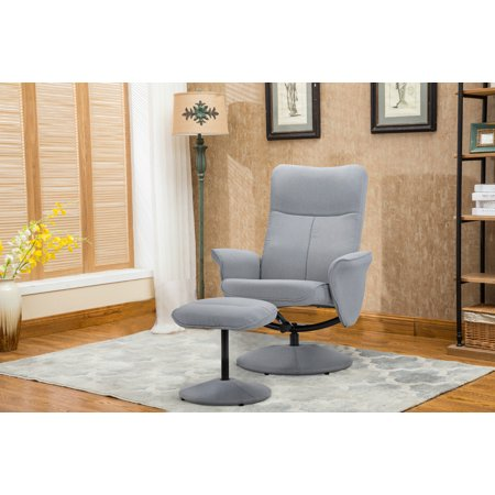 Pleasing Living Room Fabric Recliner Chair With Footstool Reclining Swivel Office Chair Gaming Chair Dark Grey Machost Co Dining Chair Design Ideas Machostcouk