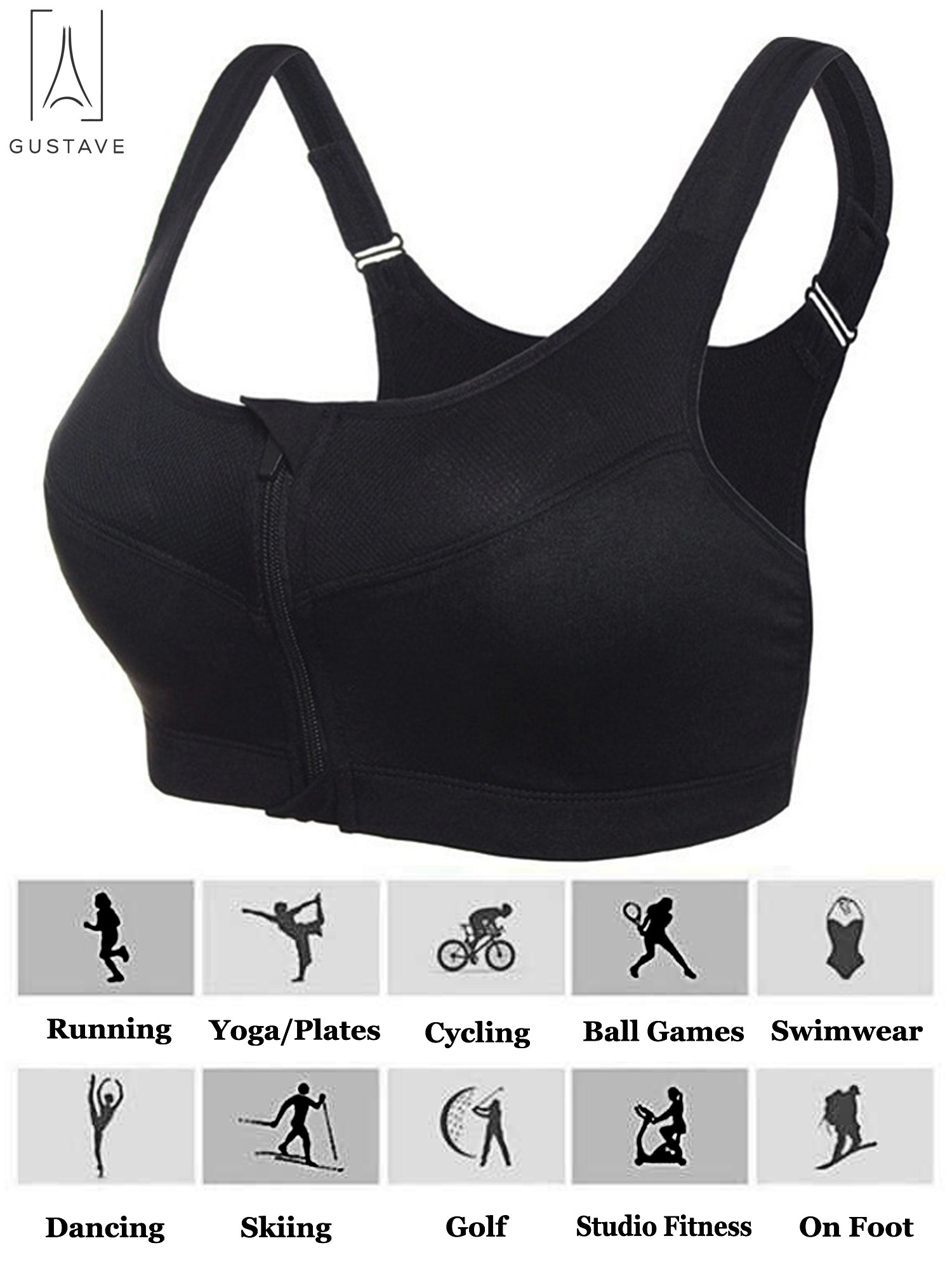 MIKI SHOP Womens Sports Bra Shockproof Padded with Back Pocket Elastic Push Up Running Yoga Bras Gym