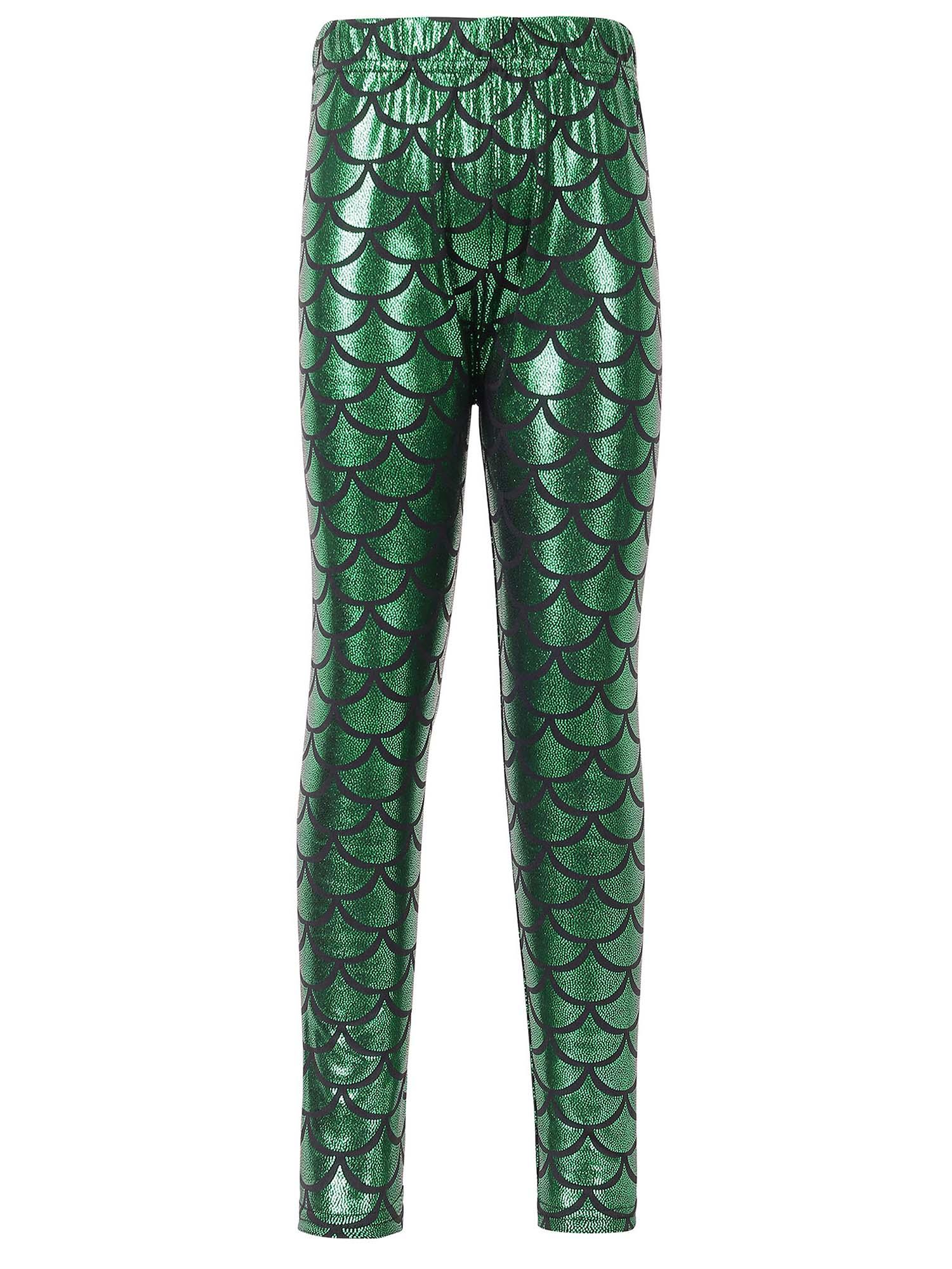 Kids Girls Night Club Full Length Mermaid Fish Scale Print Leggings Pants Blue S