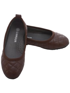 Brown Quilted Slip On Flat Fall Dress Shoes Little Girls 11-4