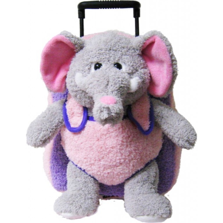 Kids Pink Purple Elephant Animal Plush Luggage Toddlers Roller Backpack