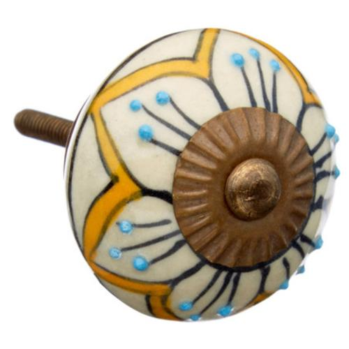 Shabby Restore Mustard Flowers Ceramic Drawer/ Door/ Cabinet Knob (Pack of 6)