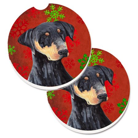 Doberman Red & Green Snowflakes Holiday Christmas Set of 2 Cup Holder Car Coaster - image 1 de 1