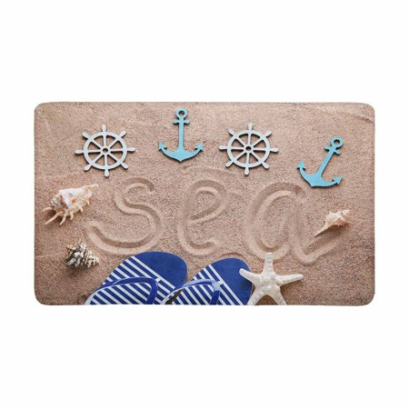 Nautical Bath Rugs (MKHERT Flip Flop on Beach Sand with Nautical Anchor and Star Fish Doormat Rug Home Decor Floor Mat Bath Mat 30x18 inch)