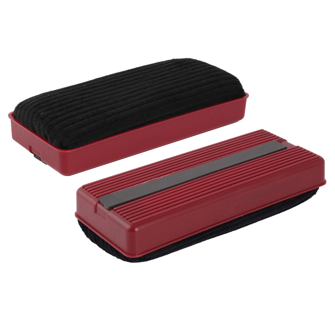 Red Black Rectangle Plastic Shell Magnetic Blackboard Eraser Chalk Cleaner 2 Pcs