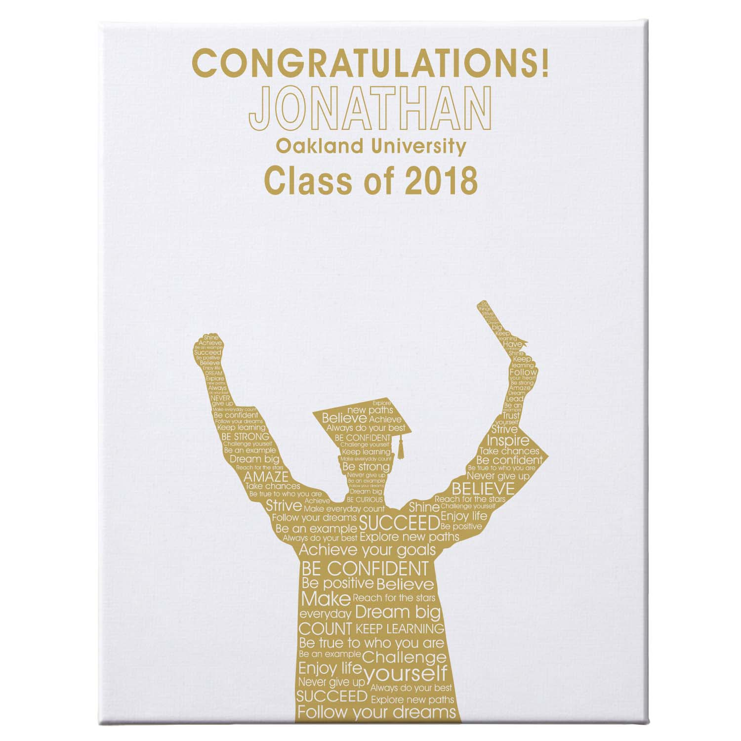 "Personalized Graduation Autograph Canvas, 11"" x 14"", Male, Available in 7 Colors"