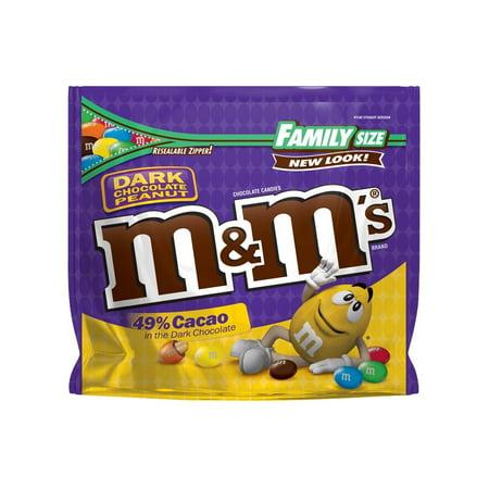 M&M's Dark Chocolate Peanut Candy Family Size, 19.2