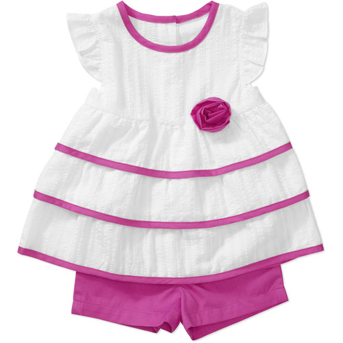 Healthtex Baby Girls' 2-Piece Tiered Top and Shorts Set