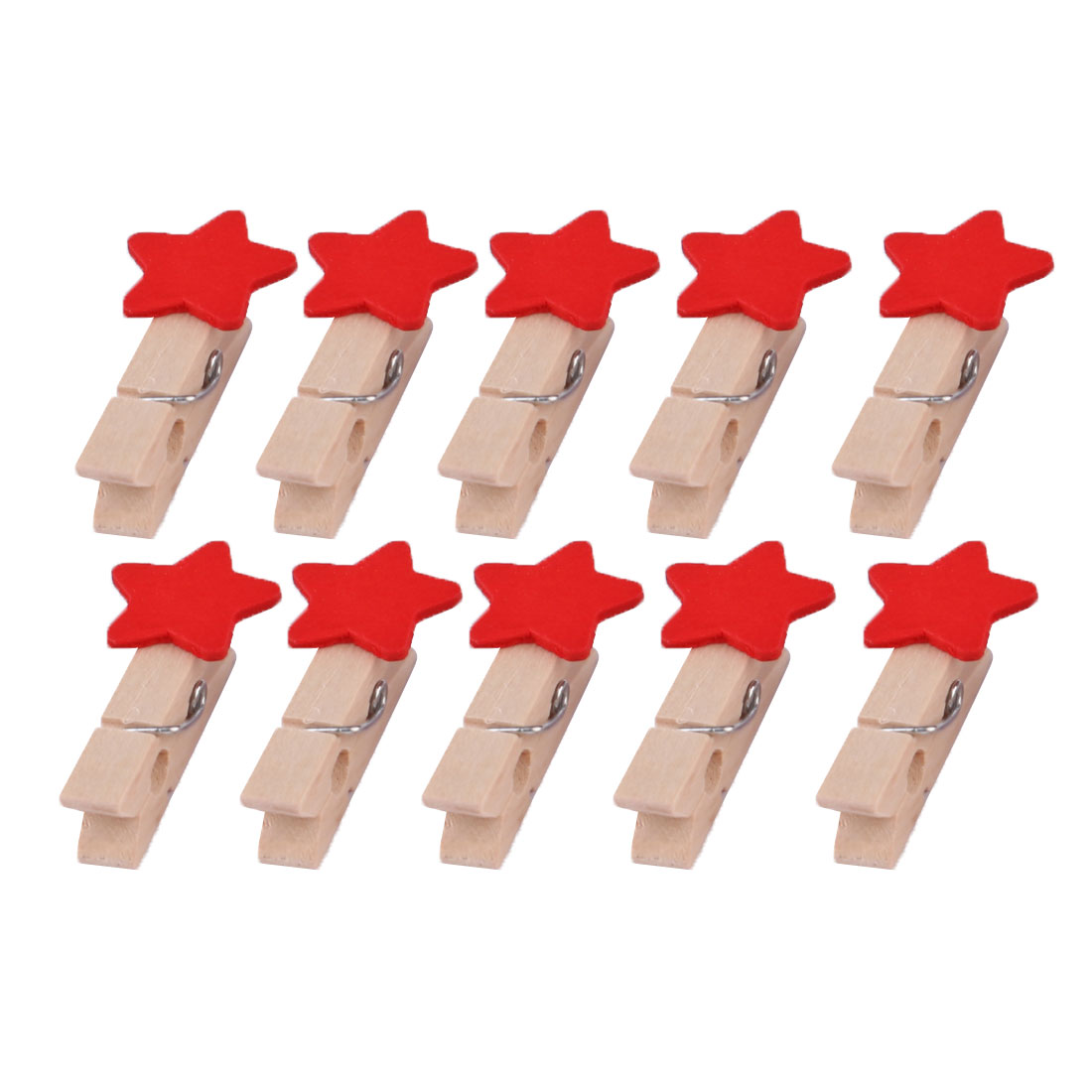 Home Wooden Star Shaped DIY Craft Photo Picture Post Card Decor Clip Red 10pcs