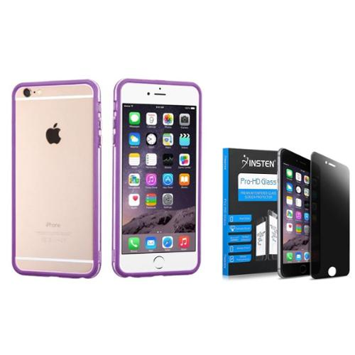 """Insten Rubber Gel Frame Bumper Case Cover for iPhone 6s Plus / 6 Plus 5.5"""" - Purple/Clear (+ Privacy Anti-Spy Tempered Glass Screen Protector Shield ) (2-in-1 Accessory Bundle)"""