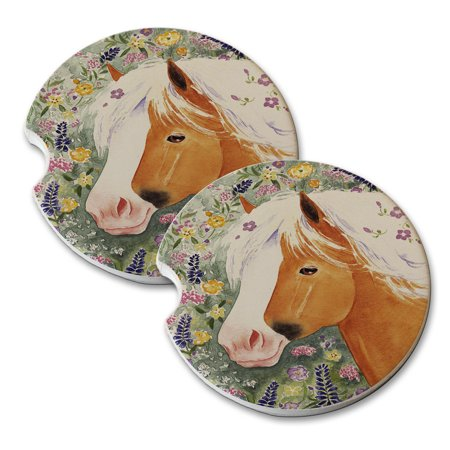 KuzmarK Sandstone Car Drink Coaster (set of 2) - Palomino Welsh Pony with Welsh Wildflowers Horse Art by Denise
