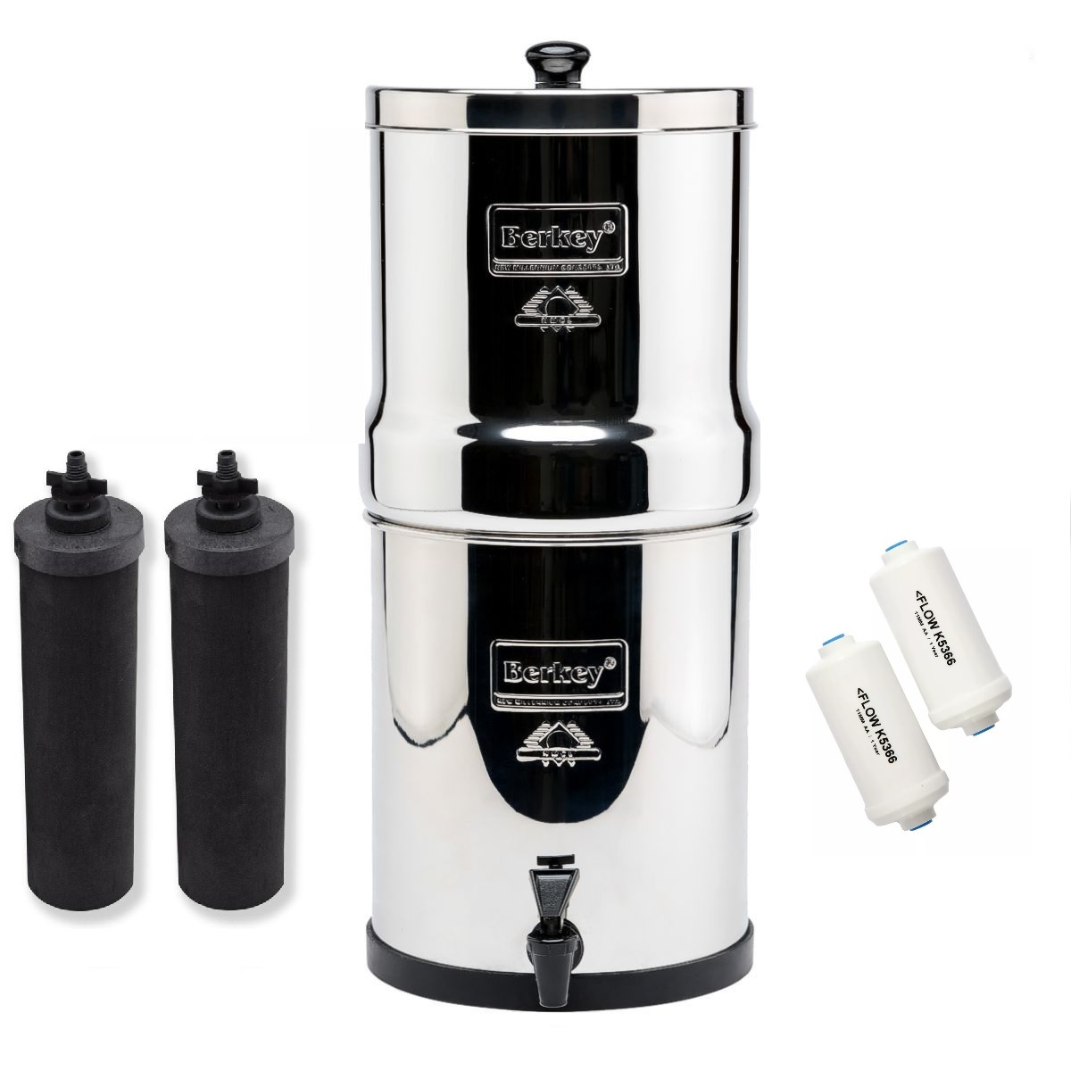 Travel Berkey Water Purifier with 2 Black and 2 PF-2 Fluoride Filters by Berkey