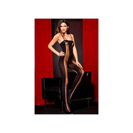 Music Legs Black Sheer & Opaque Bodystocking 1465ML Black One Size Fits All, One Size Fits All (Music Legs Lingerie)
