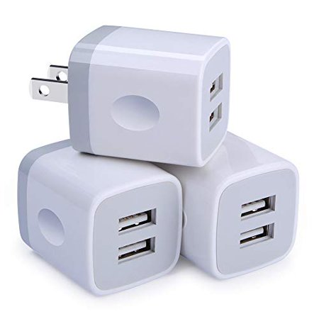 Chargers 2-Port USB Power Adapter [3-Pack] Wall Charger 2.1A Cube Plug Outlet Compatible iPhone 8 / X / 7 / 6S / Plus +, Samsung Galaxy, Motorola, HTC, Other Smartphones - (Best Tablet With Usb Port)