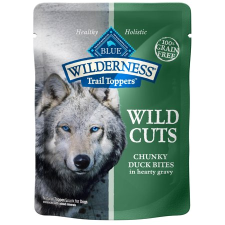 Blue Buffalo Wilderness Trail Toppers Wild Cuts High Protein Grain Free, Natural Wet Dog Food, Chunky Duck Bites in Hearty Gravy, 3-oz pouch, Case of 24