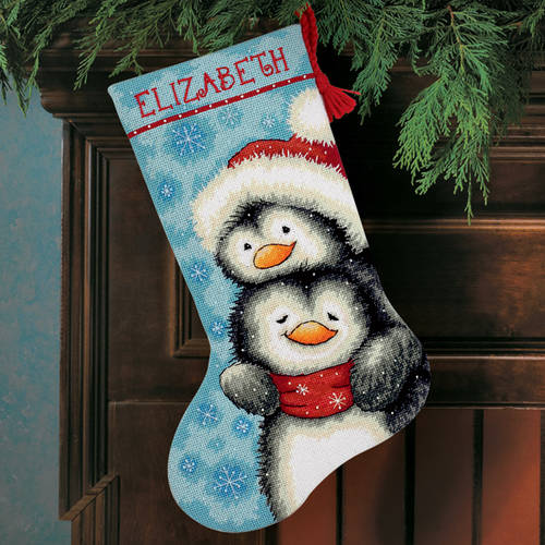 "Dimensions 16"" Stocking Needlepoint Kit, Hugging Penguins 71-09144"