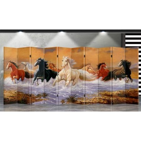 Double Sided Canvas Screen Room Divider - Running Horses (Asian Screen)