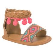 Baby Deer, MYA Infant Soft Sole Sandal With Pom Poms (Infant Girls)
