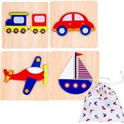 Toddler Wooden Jigsaw Puzzles Chunky – (Pack of 4) Educational Toys for Preschool Kids Ages 1 2 3 year old Boys or Girls Gift with Matching Canvas Bag - Transportation Vehicle Set Learn