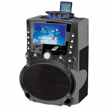 "Karaoke USA GF757 Complete Bluetooth Karaoke System - 50 Watt Power Output includes 2 Microphones, Remote Control, 7"" Color Screen, Record Function. Plays DVD/CDG/MP3G / USB /SD"