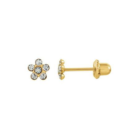- 14K Yellow Imitation Crystal April Birthstone Piercing Earrings