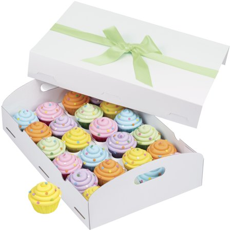Wilton White Cupcake Carrier Box, 17 x 12x 2 Inch Folding Tray (Large Cupcake Holders)