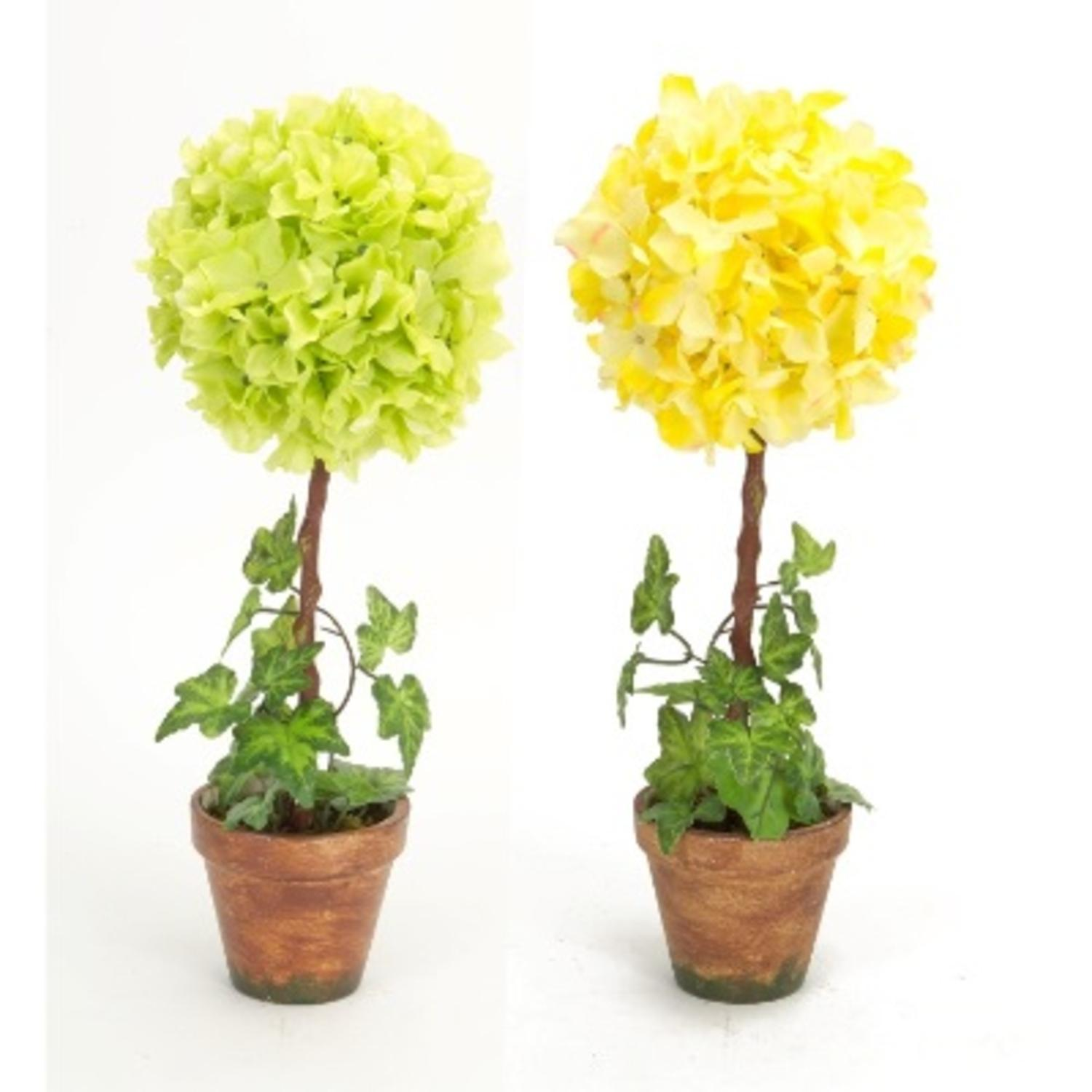 Pack of 4 Yellow Hydrangea and Green Ivy Artificial Decorative Topiary 16.5""