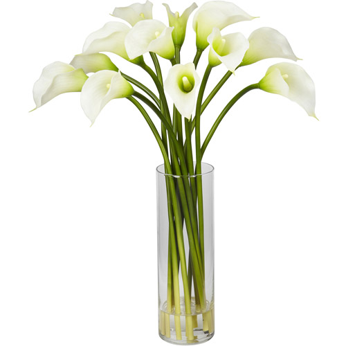 Mini Calla Lily Silk Flower Arrangement, Cream