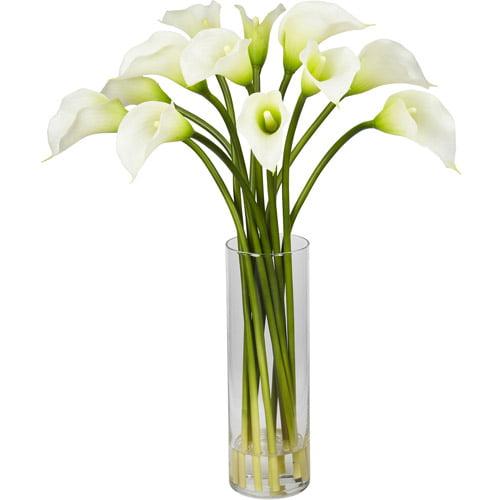 Nearly Natural Mini Calla Lily Silk Flower Arrangement, Cream