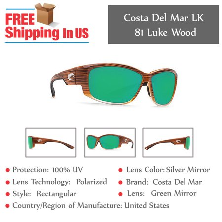 38dab7637c2 Costa Del Mar - Costa Del Mar Luke Wood Fade Rectangular Sunglasses -  Walmart.com