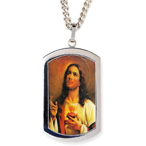 Men's Stainless Steel Jesus Dog Tag Pendant, 24""