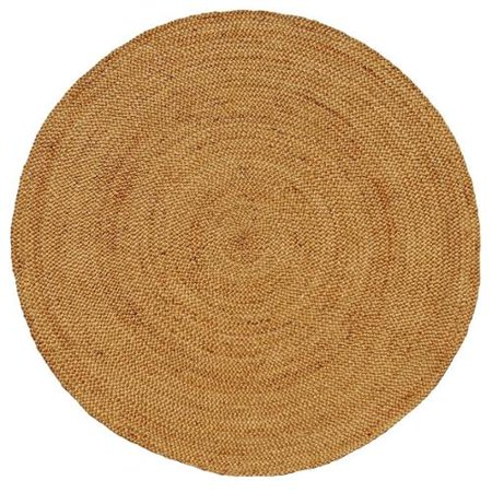 test Hand-woven Braided Natural Jute Rug (6' Round)